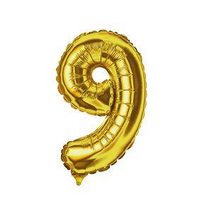 Balao-Metalizado-14-Dourado-E-Festa-Numero-9